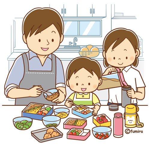 お弁当を作るお父さんとこどもたちのイラスト ソフト 子供のお絵かき イラスト ソフト 子供の漫画