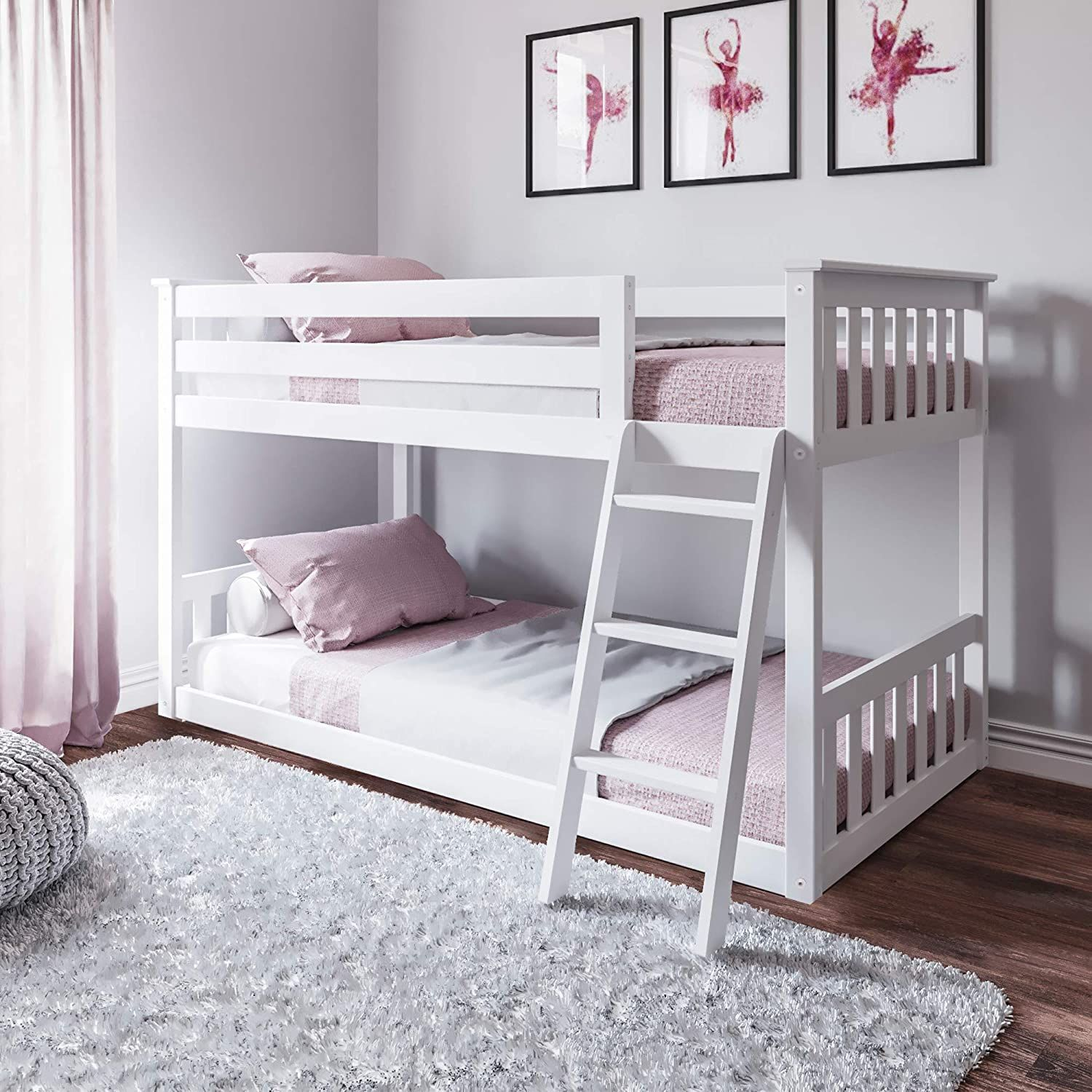 Max & Lily Twin over Twin Low Bunk Bed, White in 2020