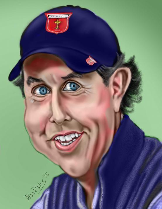 Golfer Phil Mickelson (by adavis57) | Karikatuur