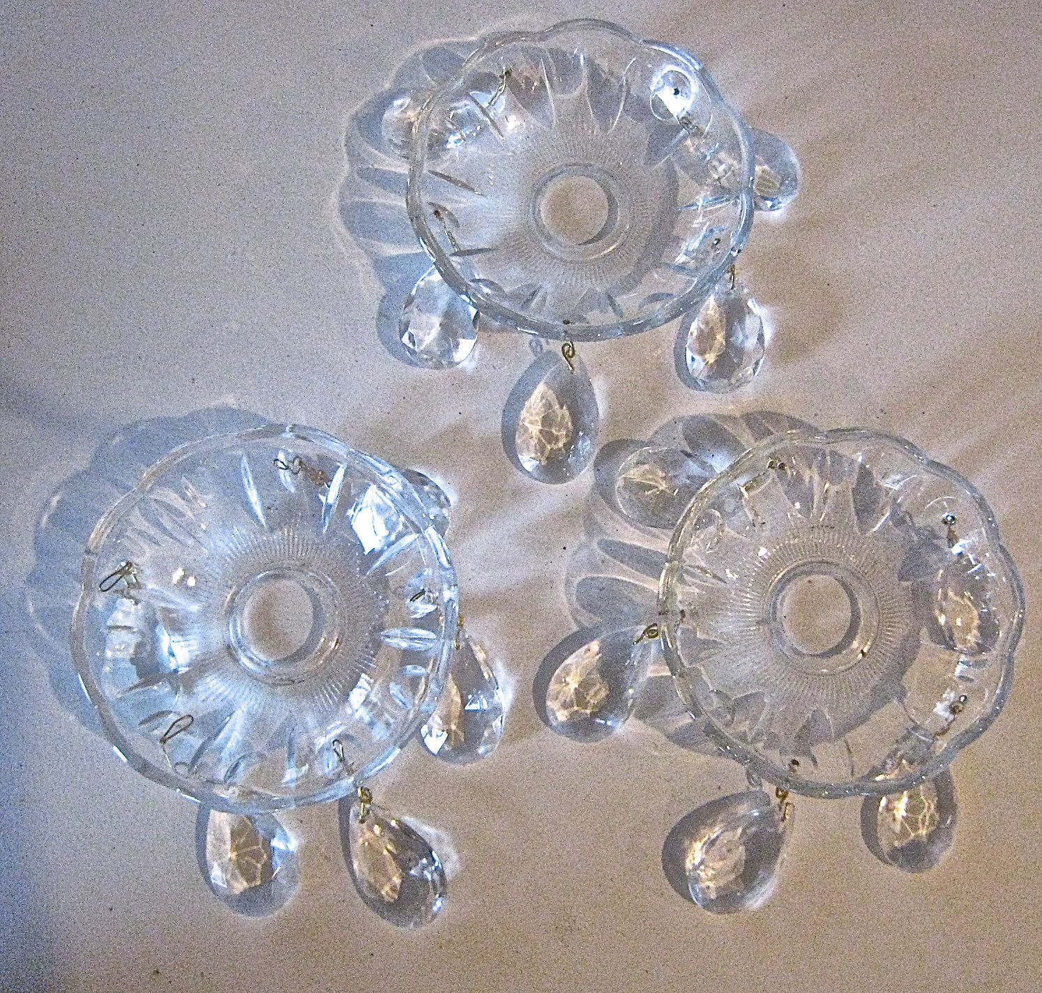 RESERVED For JUDITH 6 Crystal Chandelier Bobeches