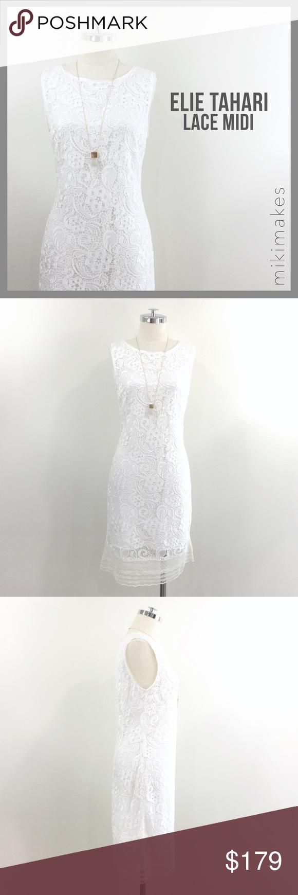 Sold Elie Tahari White Lace Sheath Dress Lace Sheath Dress Dresses Sheath Dress [ 1740 x 580 Pixel ]