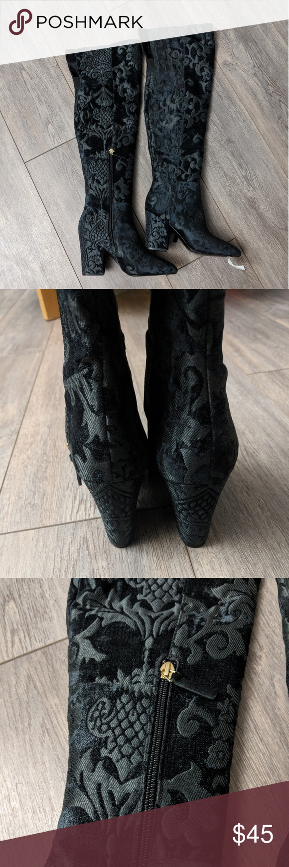 1dca43abc61 Nine West Siventa over the knee brocade heel boot Such a cute statement boot!  Really nice brocade. Pointed-toe over-the-knee boots Zipper closure at  inner ...