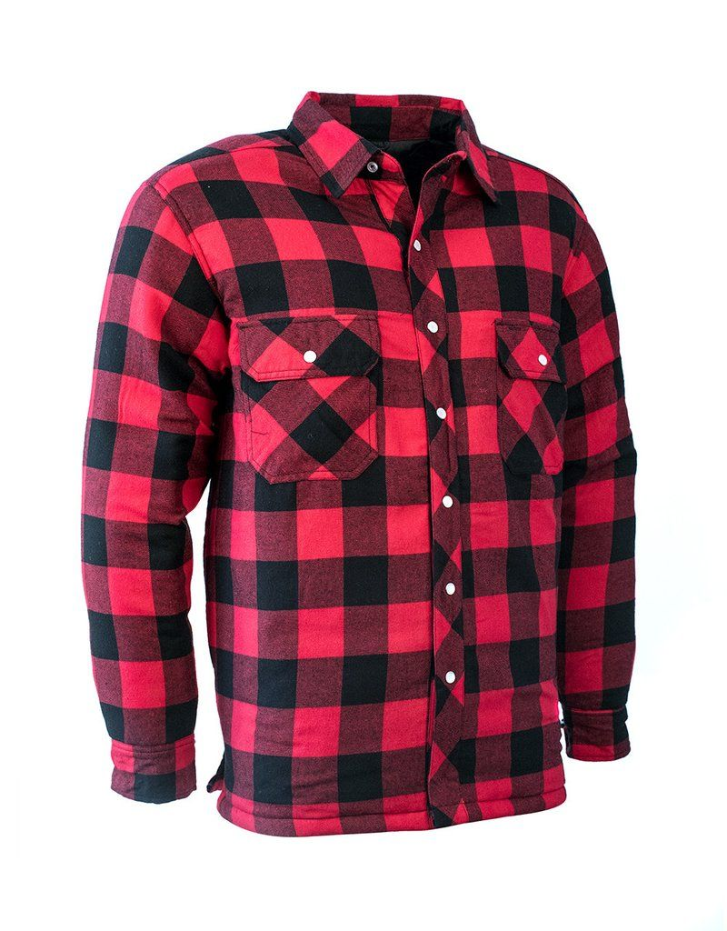RED BUFFALO PLAID QUILTED FLANNEL SHIRT Hi Vis Safety