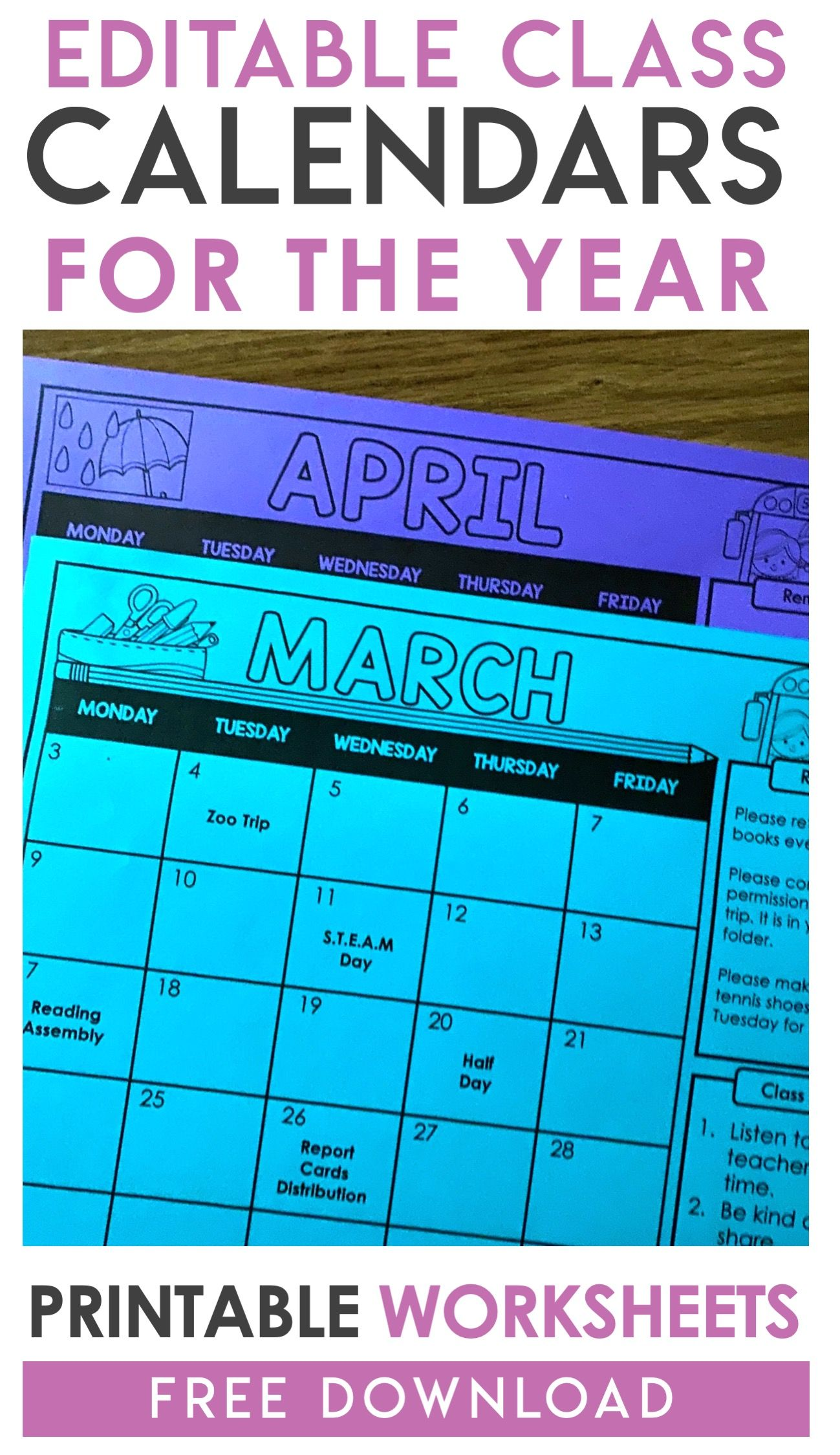 Free Editable Monthly Class Calendars