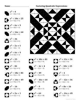 Factoring Quadratic Expressions Color Worksheet #3 | Pinterest ...