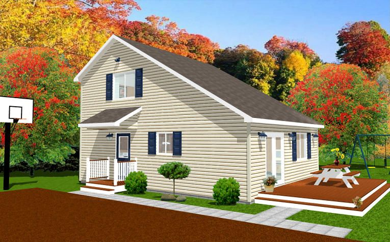 Saltbox features a flat front and steeply sloped rear for Saltbox house plan