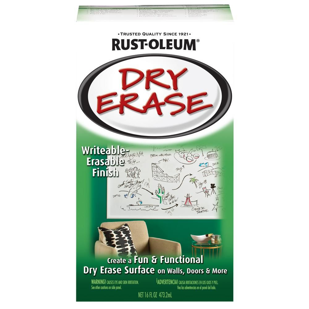 Rust Oleum Specialty 16 Oz Gloss White Dry Erase Kit In 2020 Dry Erase Paint Dry Erase Dry Erase Wall