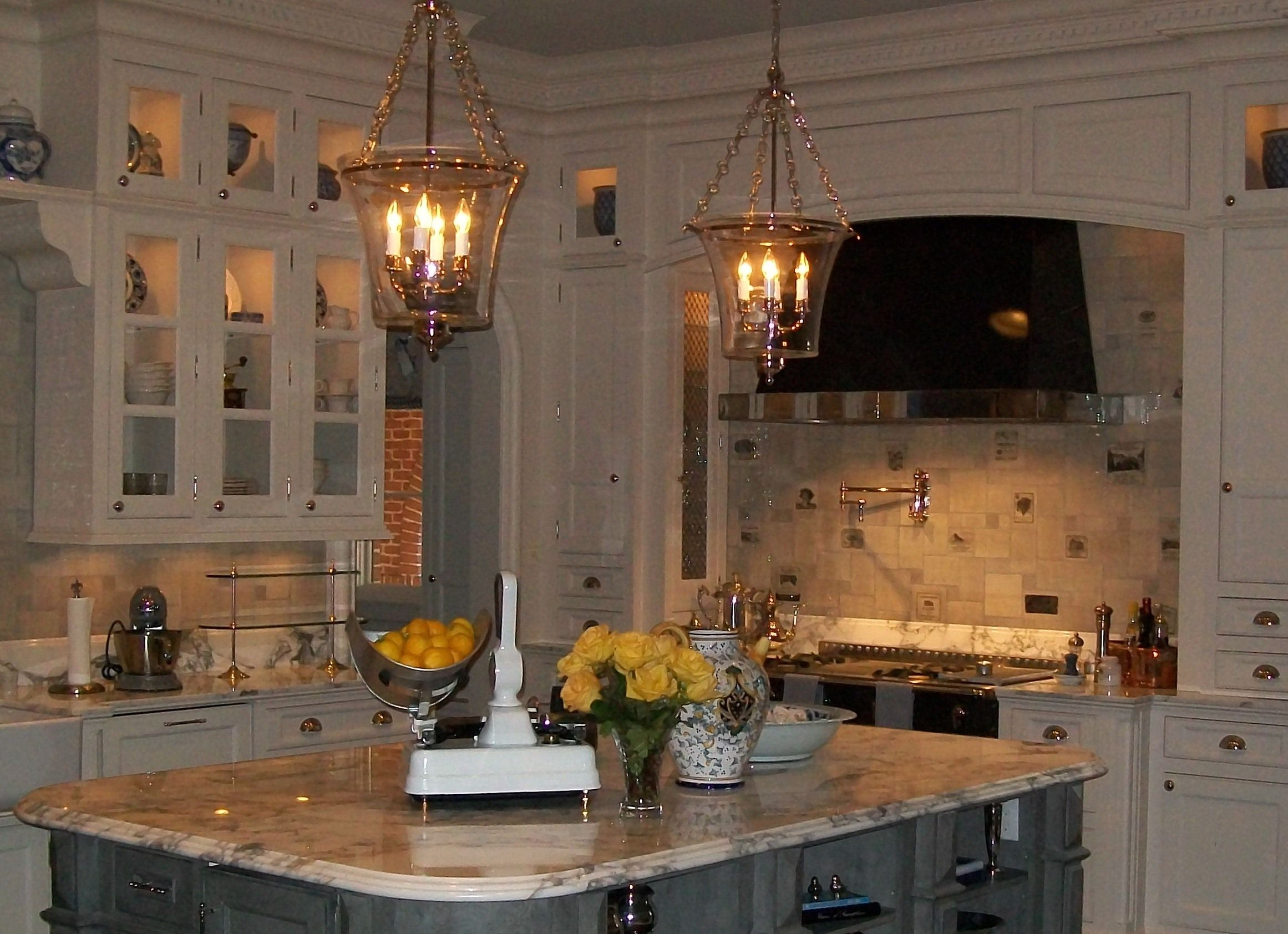Grey wash tiles / kitchen splash / wine labels - hand painted
