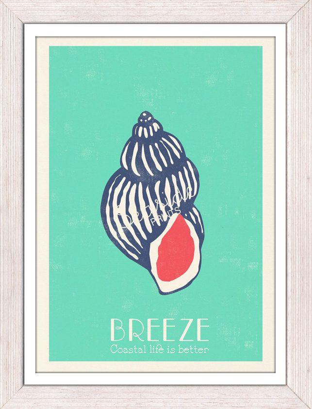 Pop Art Sea Shell -Sea foam Breeze -  Sea life print - free shipping worldwide. $12.00, via Etsy.