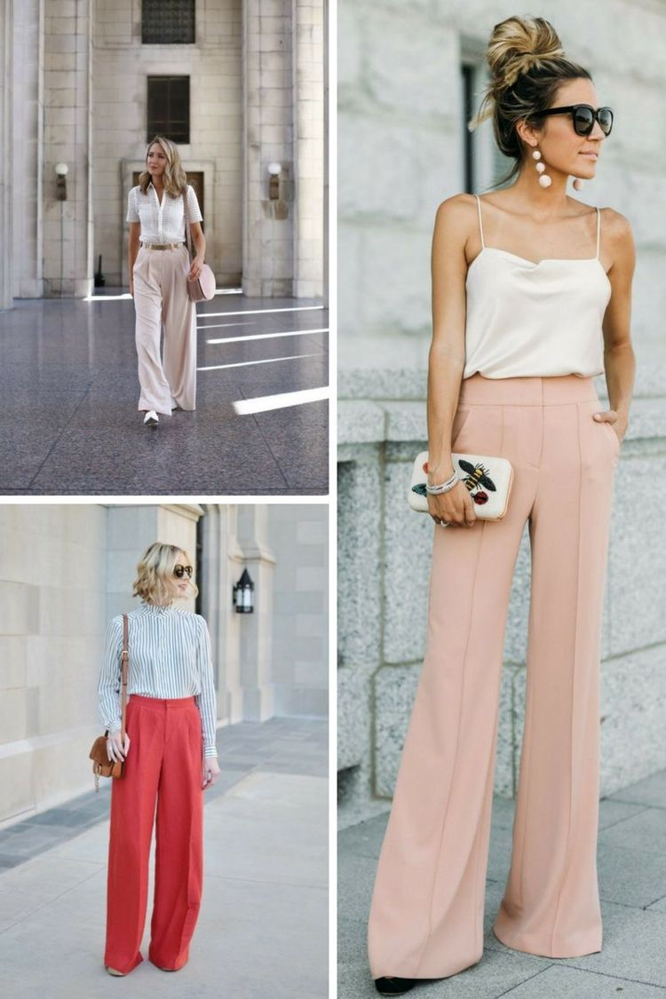 outfit fuer hochzeitsgaeste lange hose top spaghetti hohe taille