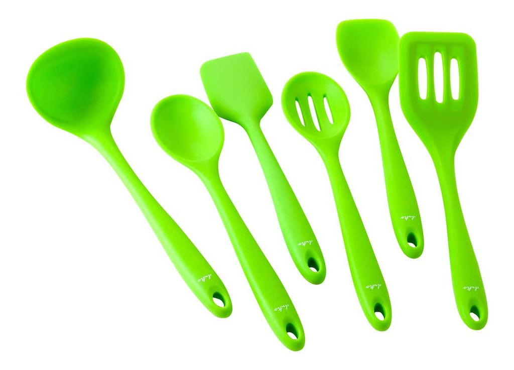 Dishwasher Safe Silicone Kitchen Utensil 6 Piece Set Premium Bamboo