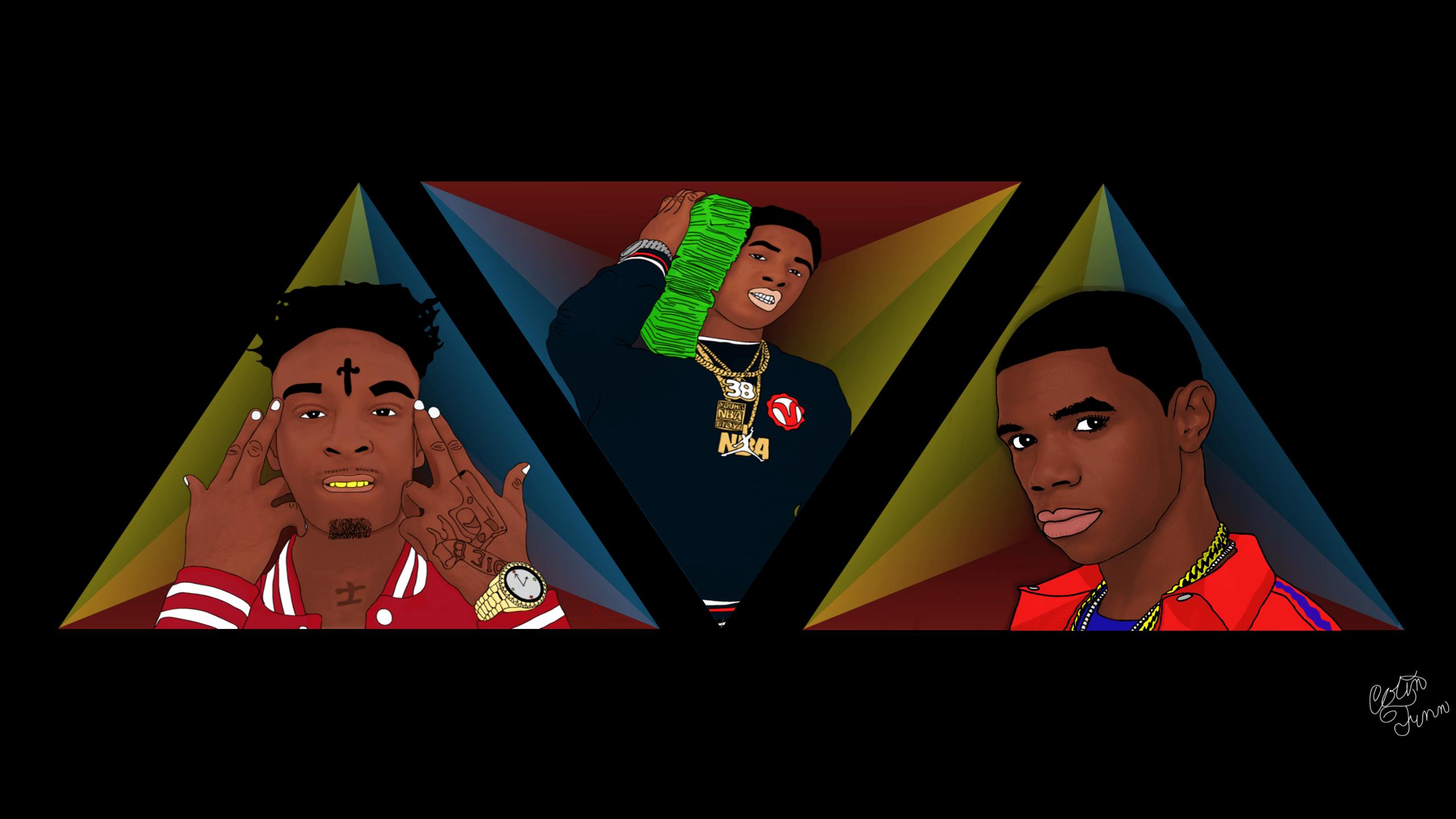 2560x1440 21 Savage Nba Youngboy And A Boogie Fan Art Hiphopimages Cartoon Wallpaper Cartoon Background Cartoon