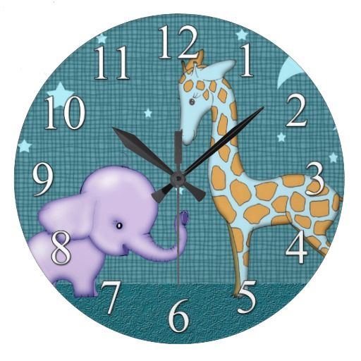 Safari Elephant and Giraffe Animals Kids Clock