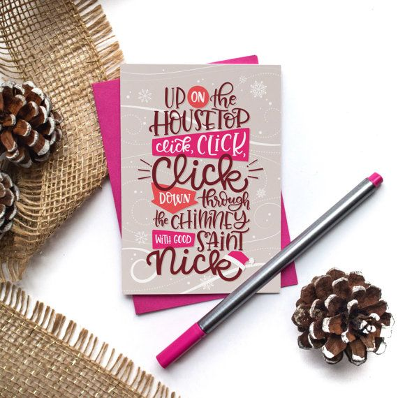 Up on the housetop click click click Christmas Card by jelligun | Hand lettering art, Hand ...