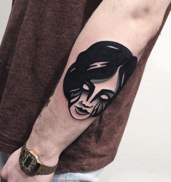 Simple blackwork tattoo ideas of girl face tattoo with for Blackwork tattoo artists