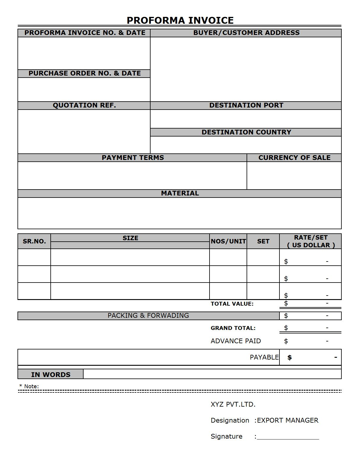 Proforma Invoice Format Format Word Pdf Report In Free Proforma Invoice Template Word Best Sample Invoice Template Word Invoice Template Invoice Format