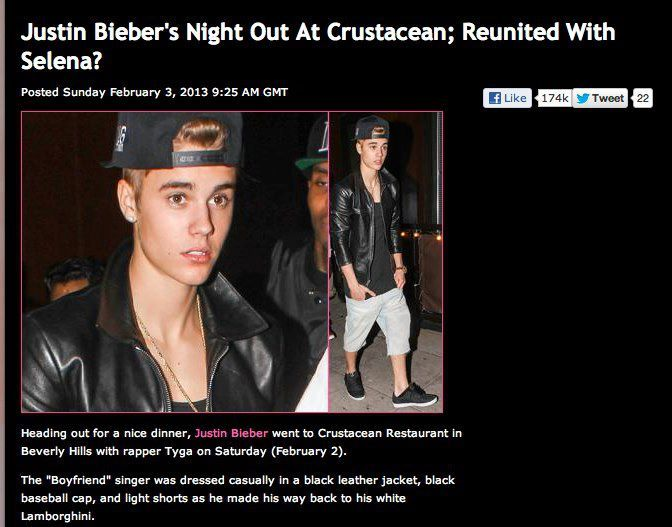 Justin Bieber spotted at Crustacean, Beverly Hills