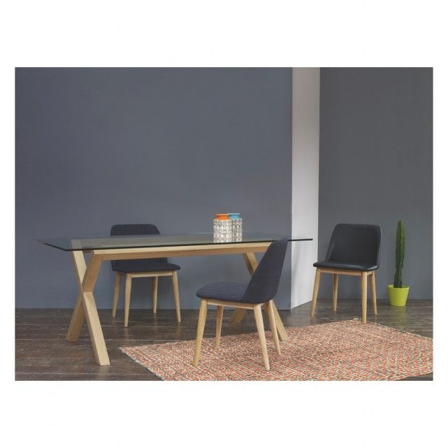 DUBLIN 4 Seater Oak And Glass Dining Table