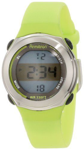 Armitron Women's 45/7024LGN Stainless-Steel Accented Lime Green Resin Strap Chronograph Watch Armitron. $18.74. 30 mm round lime green resin case with stainless-steel bezel and black push buttons. Silver-tone dial frame with lime green outer edge; lcd display with shaded center section and backlit upper and lower portions. Functions include day, date, chronograph, alarm hourly chime and 24 hour time. Water-resistant to 100 M (330 feet). Vertical textured lime green resin stra...