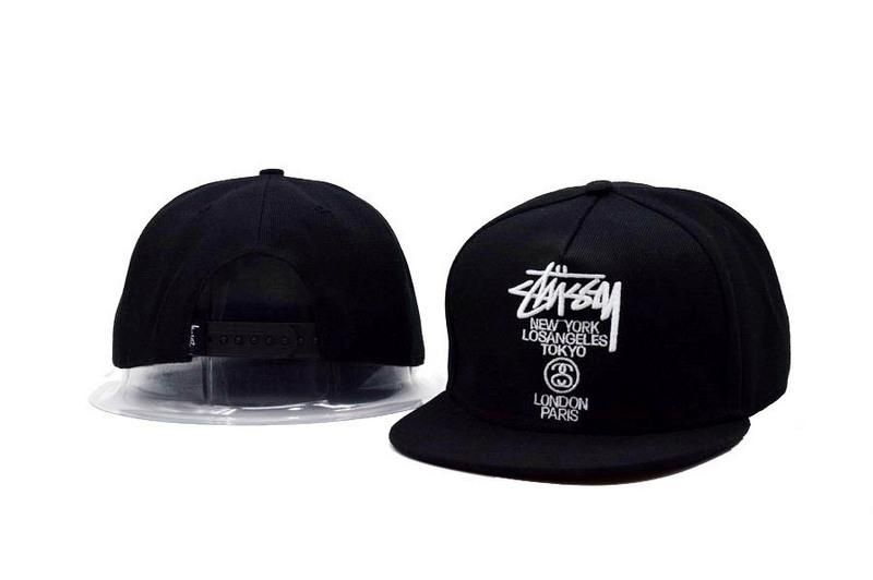 e822c6383ab Mens Stussy World Tour New York Los Angeles Tokyo London Paris Snapback Hat  - Black   White