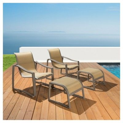 Zen 4pc Metal Patio Club Ottoman Sling Taupe Rst Brands