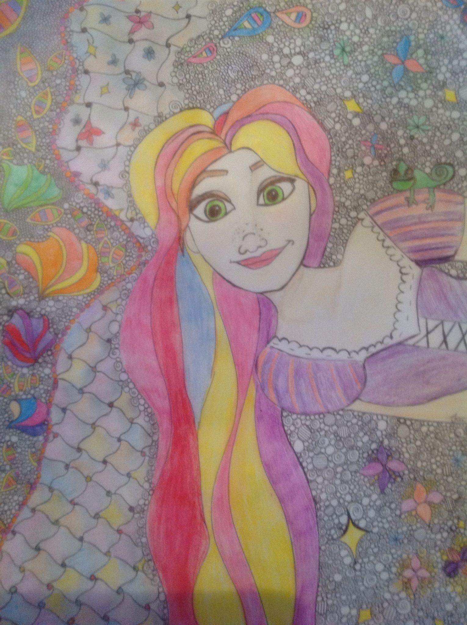 Rapunzel zentangle