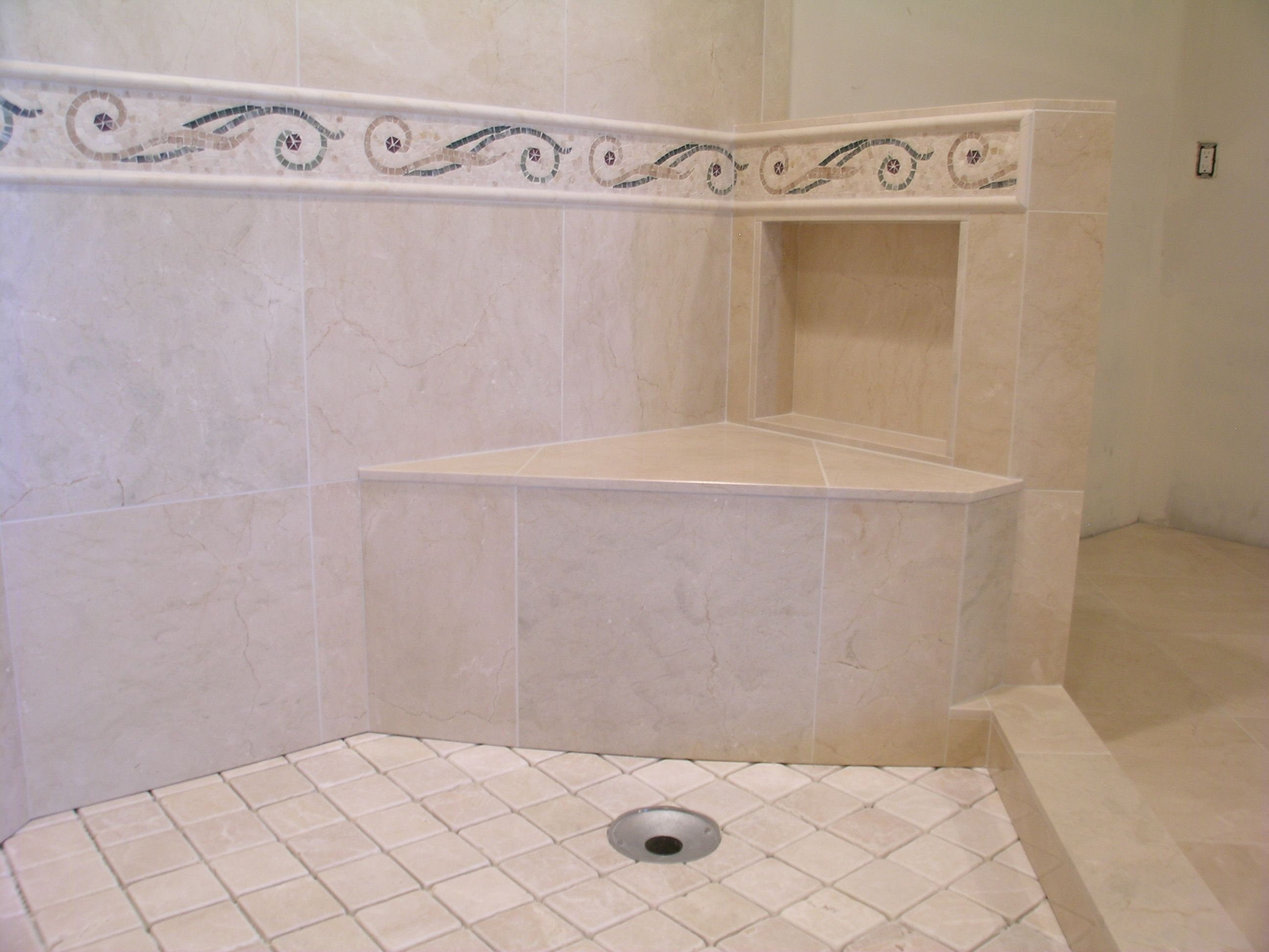 Shower seat, Mosaics and Showers on Pinterest