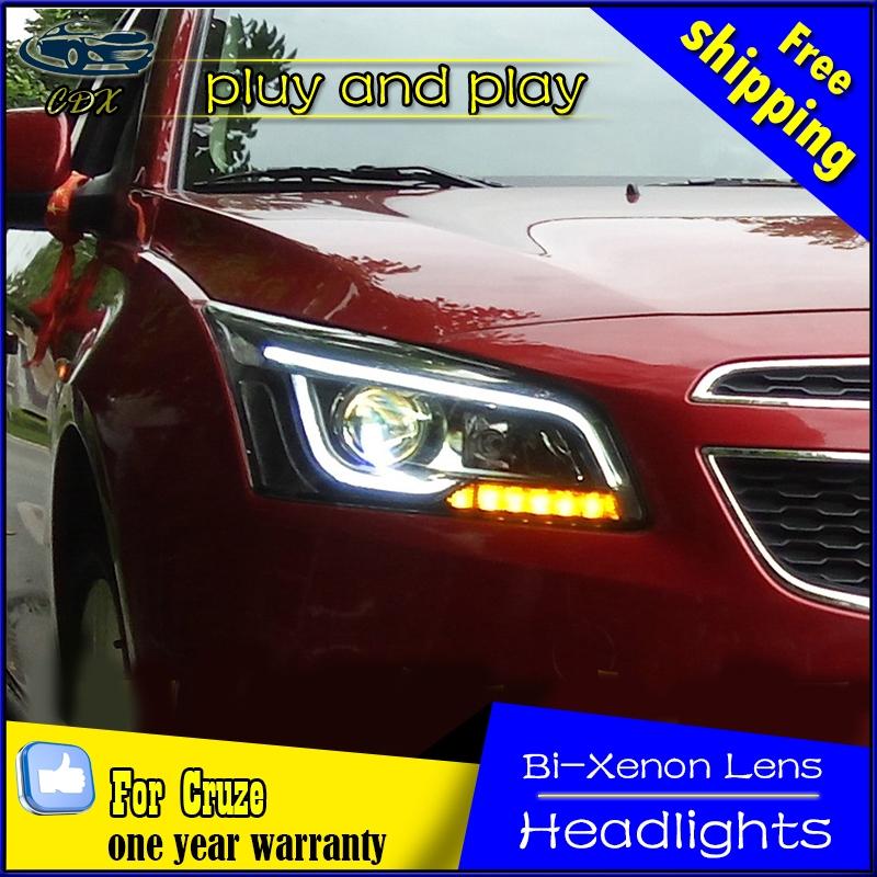 612.75$  Buy here - http://aliv65.worldwells.pw/go.php?t=32741769551 - Free shipping!! car Styling For  Cruze headlights 2015 Cruze led DRL headlight GIT head lamp Angel eyes H7 hid R20 Bi-Xenon Lens