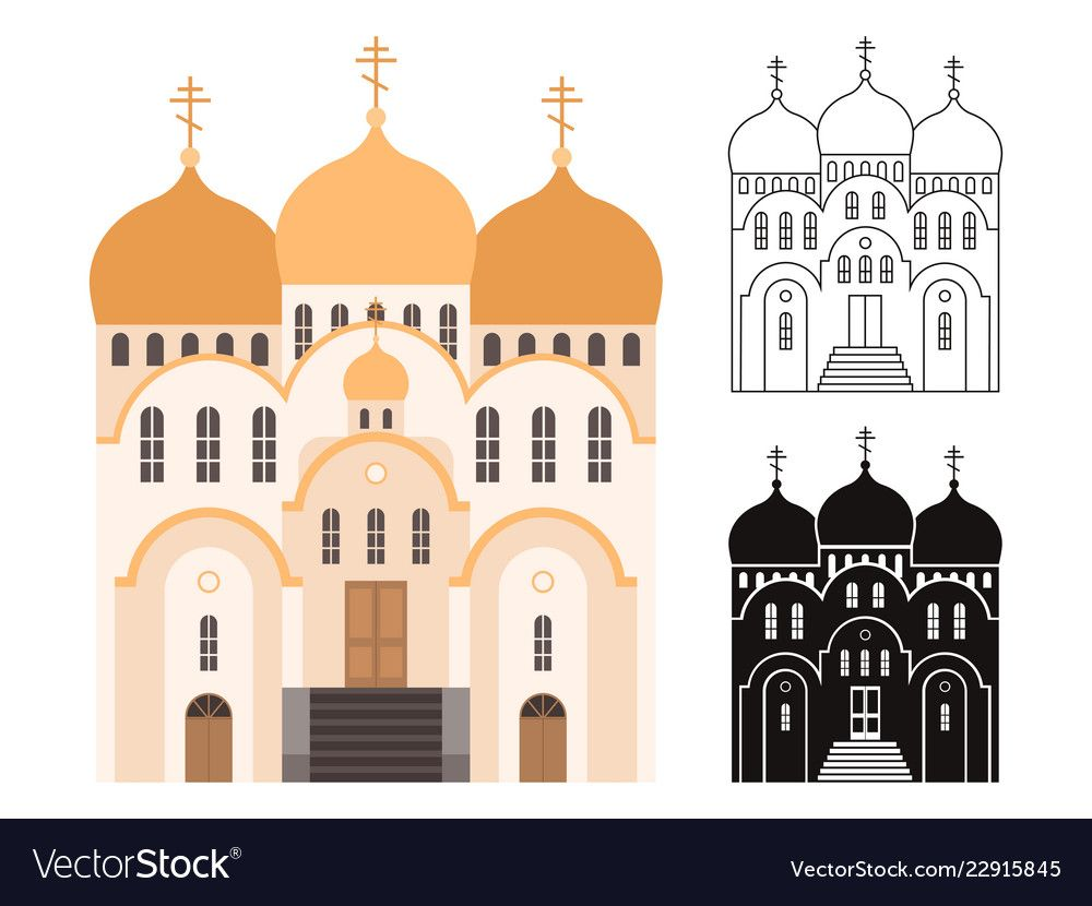 Line and flat church buildings Royalty Free Vector Image