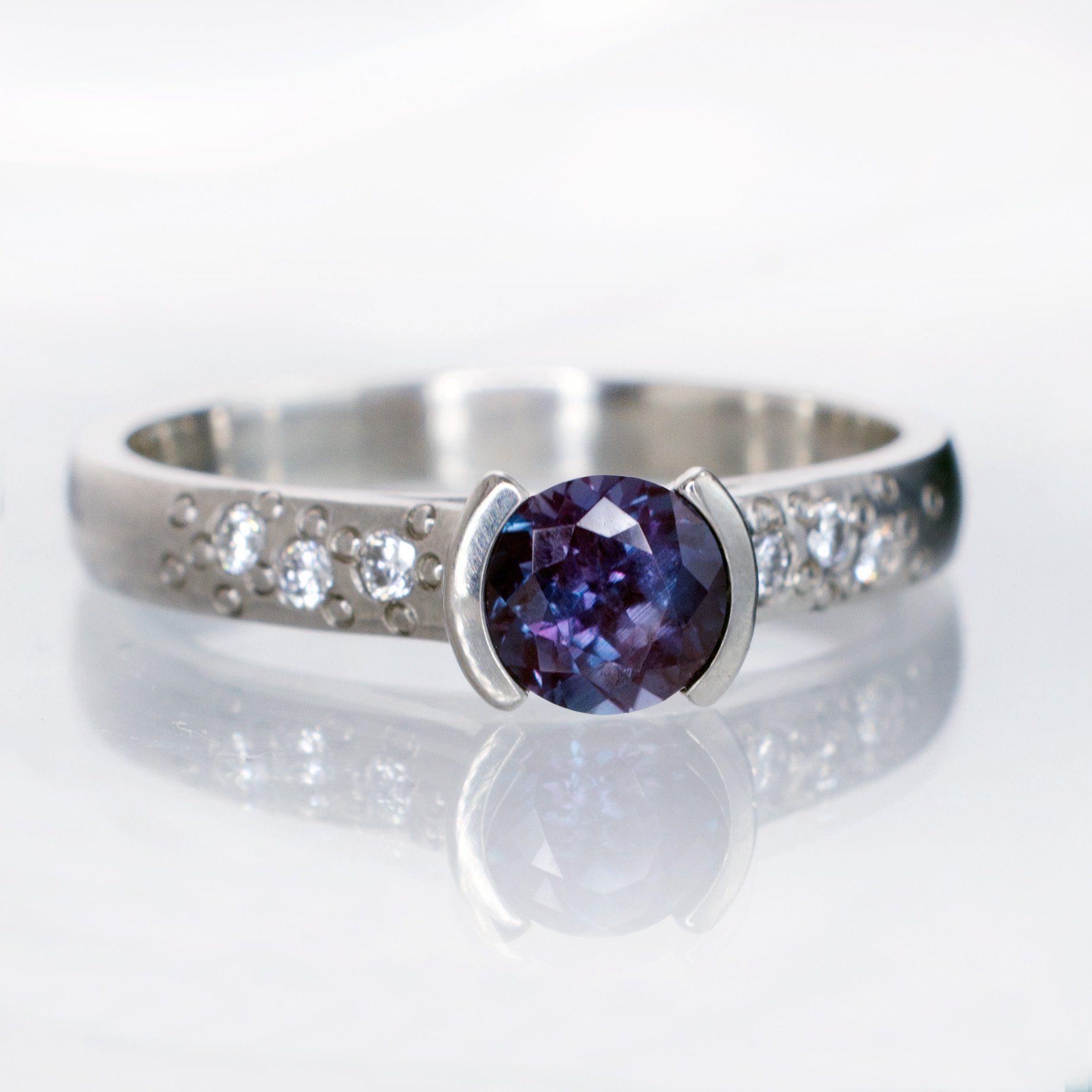 Alexandrite half bezel diamond star dust engagement ring