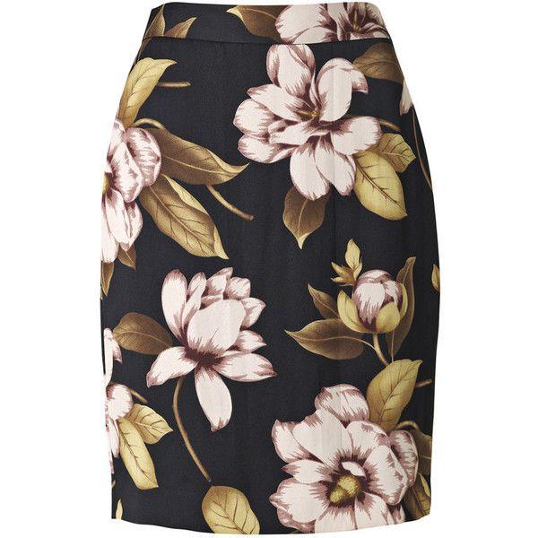 By Malene Birger Dickow Flower Printed Skirt (£66) ❤ liked on Polyvore featuring skirts, bottoms, faldas, gonne, pencil skirt, floral knee length skirt, zipper skirt, flower skirt, floral print skirt and flower print skirt