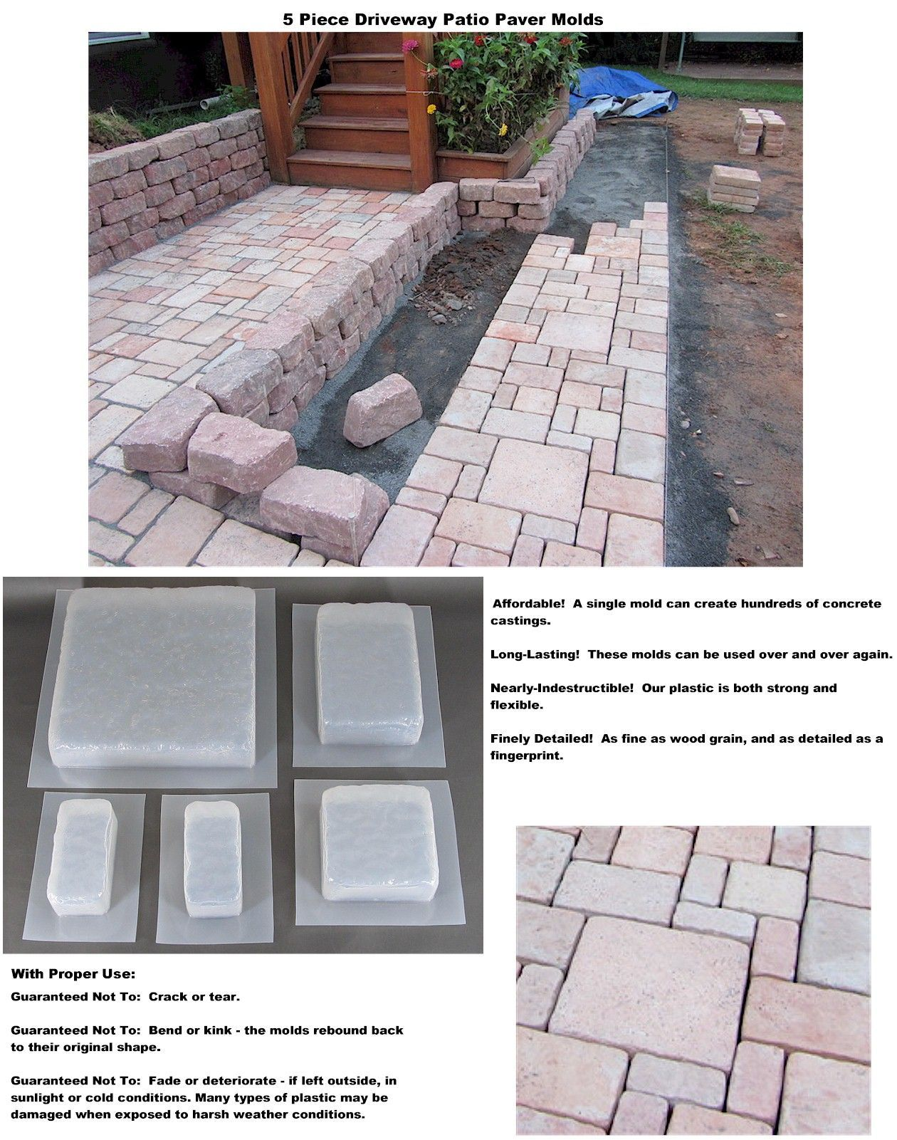 New 5 Piece Concrete Molds Forms Driveways Patio Paver Diy Landscape Patio Outdoor Patio Pavers Outdoor Patio Set