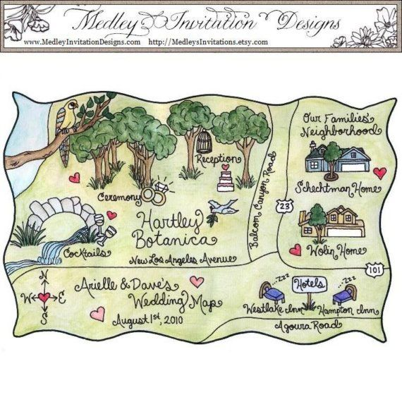 Hand Drawn Hand Painted Wedding And Or Event Map Painted With