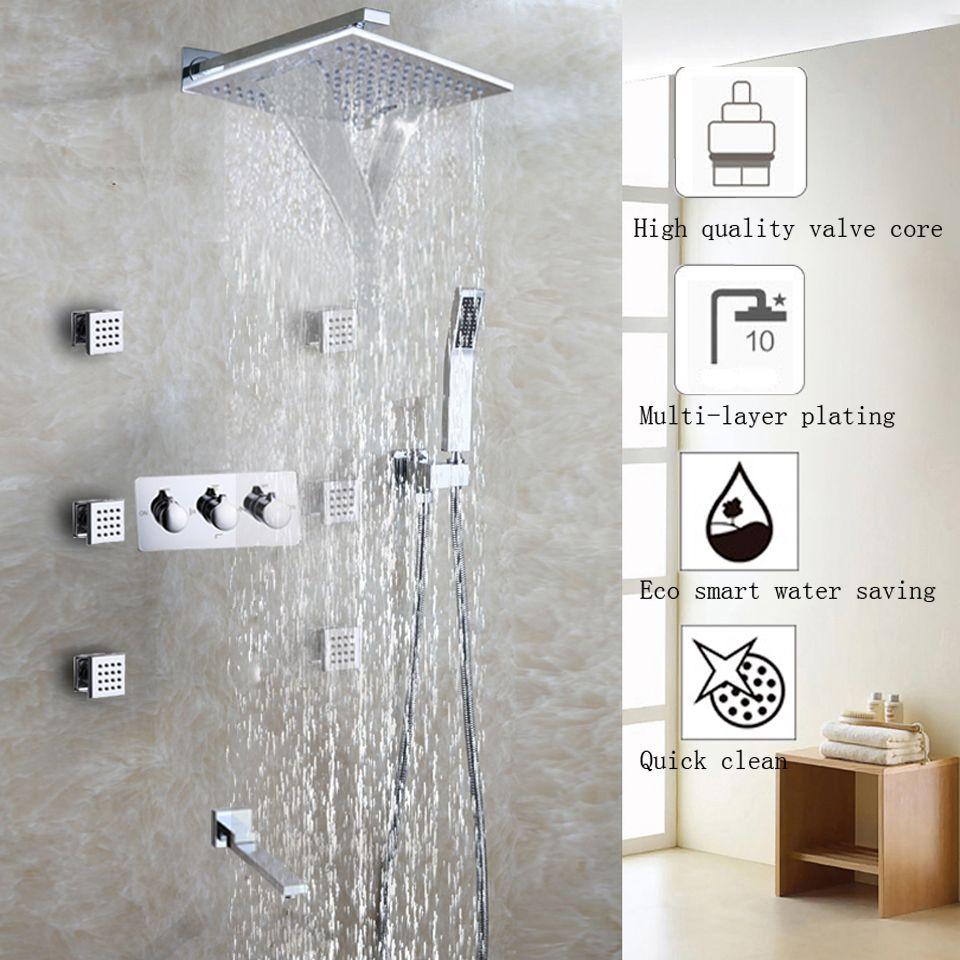 Waterfall Bathroom Shower Faucet Set Chrome Shower Head Bathroom ...