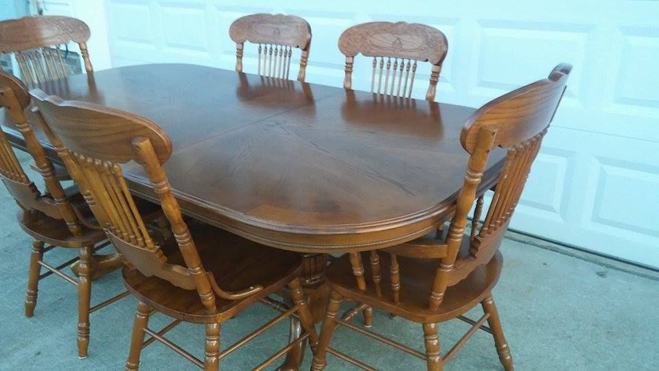 Beautiful Solid Red Oak Kitchen Dining Room Table W 6 Chairs