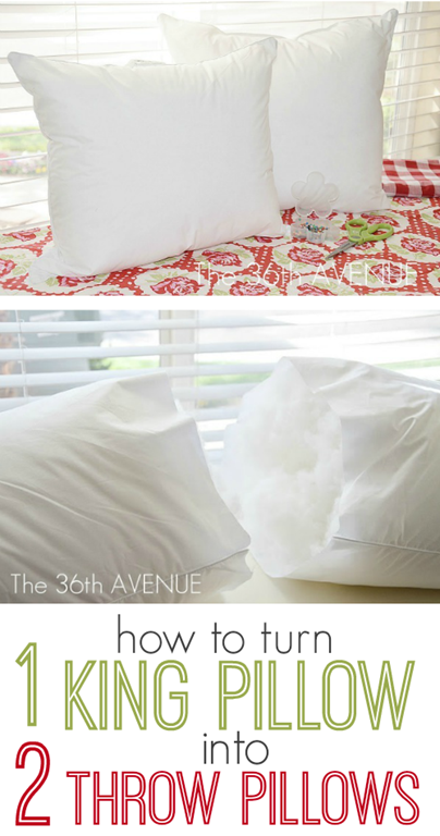 Craft Tip Bed Pillow Into TWO Throw Pillows Pinterest King Size Simple King Size Decorative Pillows