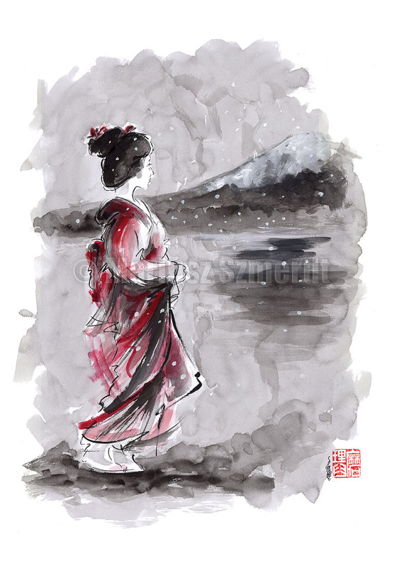 Geisha Painting Japanese Art Watercolor Artwork By Samuraiart