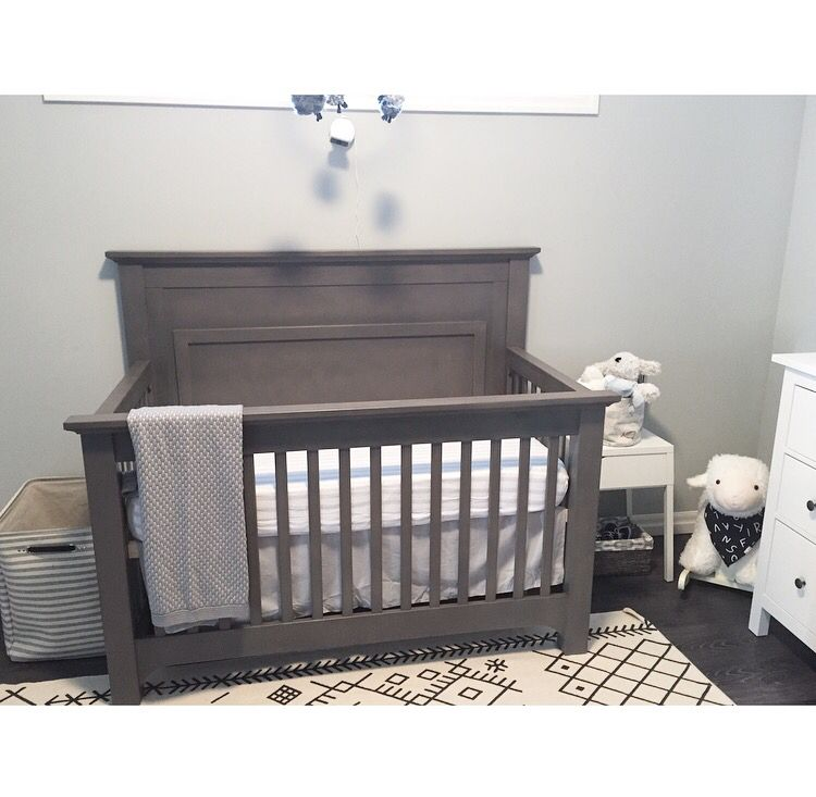 Mismatched Neutral Nursery Grey Crib White Dresser White
