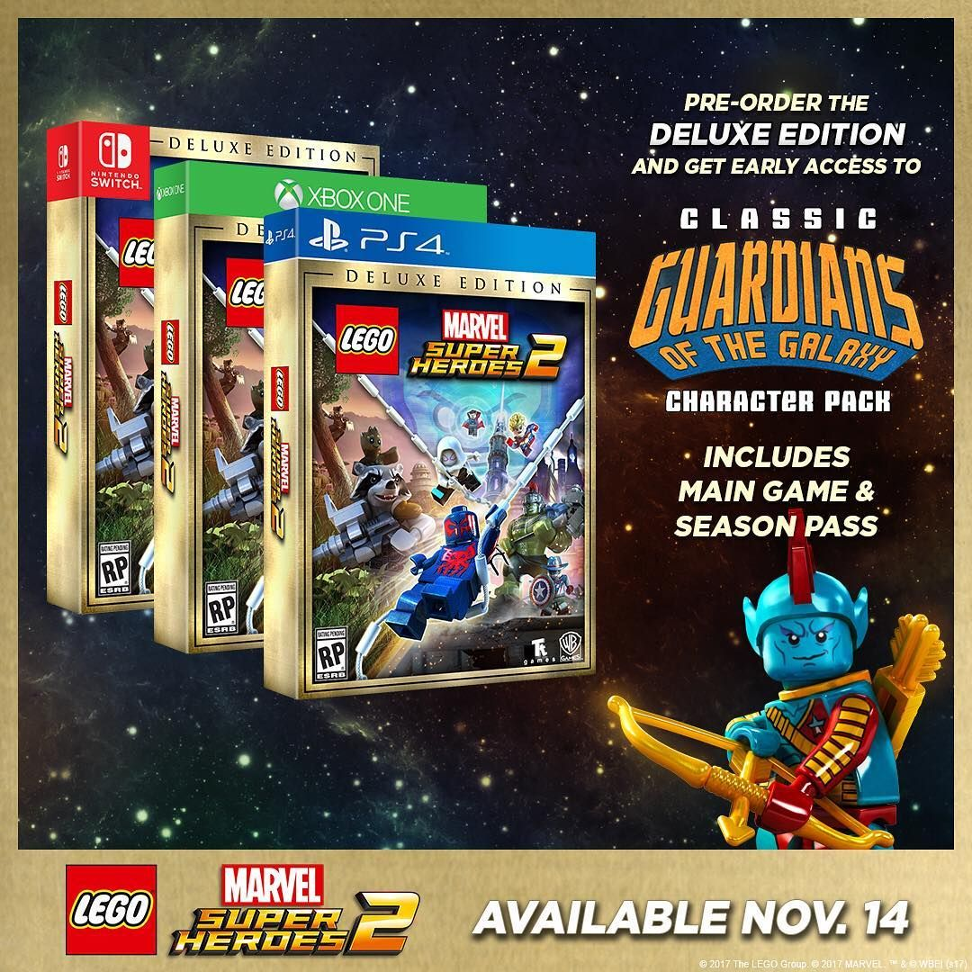 More levels and more characters! Keep the action going with the LEGO Marvel Super Heroes 2 Deluxe Edition, available for pre-order starting today. #LEGOMarvel2