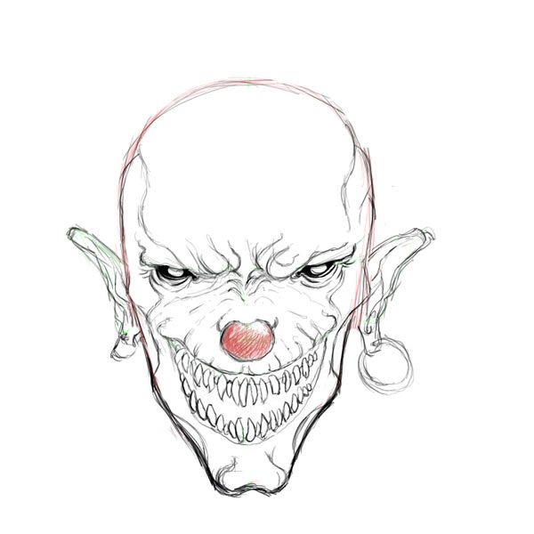 Scary coloring pages for adults evil clown drawings for Clown coloring pages for adults