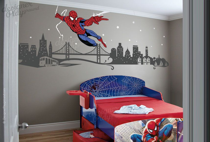 Spiderman Slinging Web With Cityscape Wall Decals - Superhero wall decals for girls