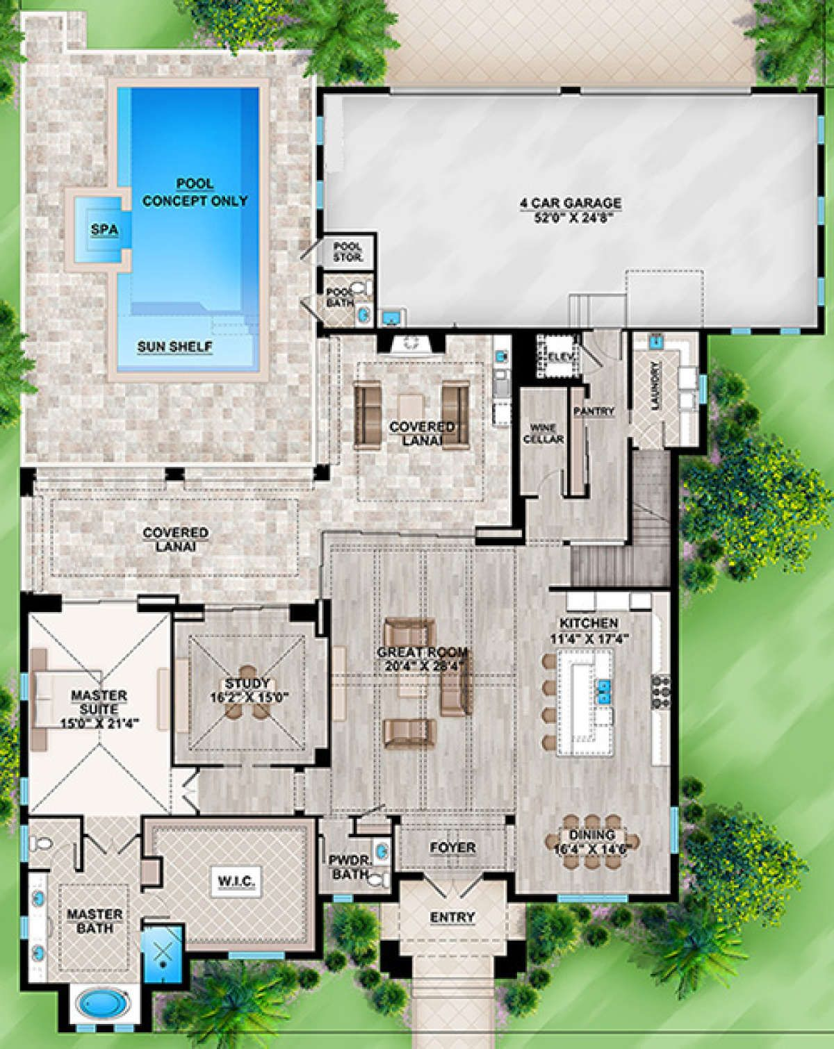 House Plan 207 00041 Contemporary Plan 4 485 Square Feet 4 Bedrooms 5 Bathrooms In 2020 Pool House Plans Sims House Plans House Layout Plans