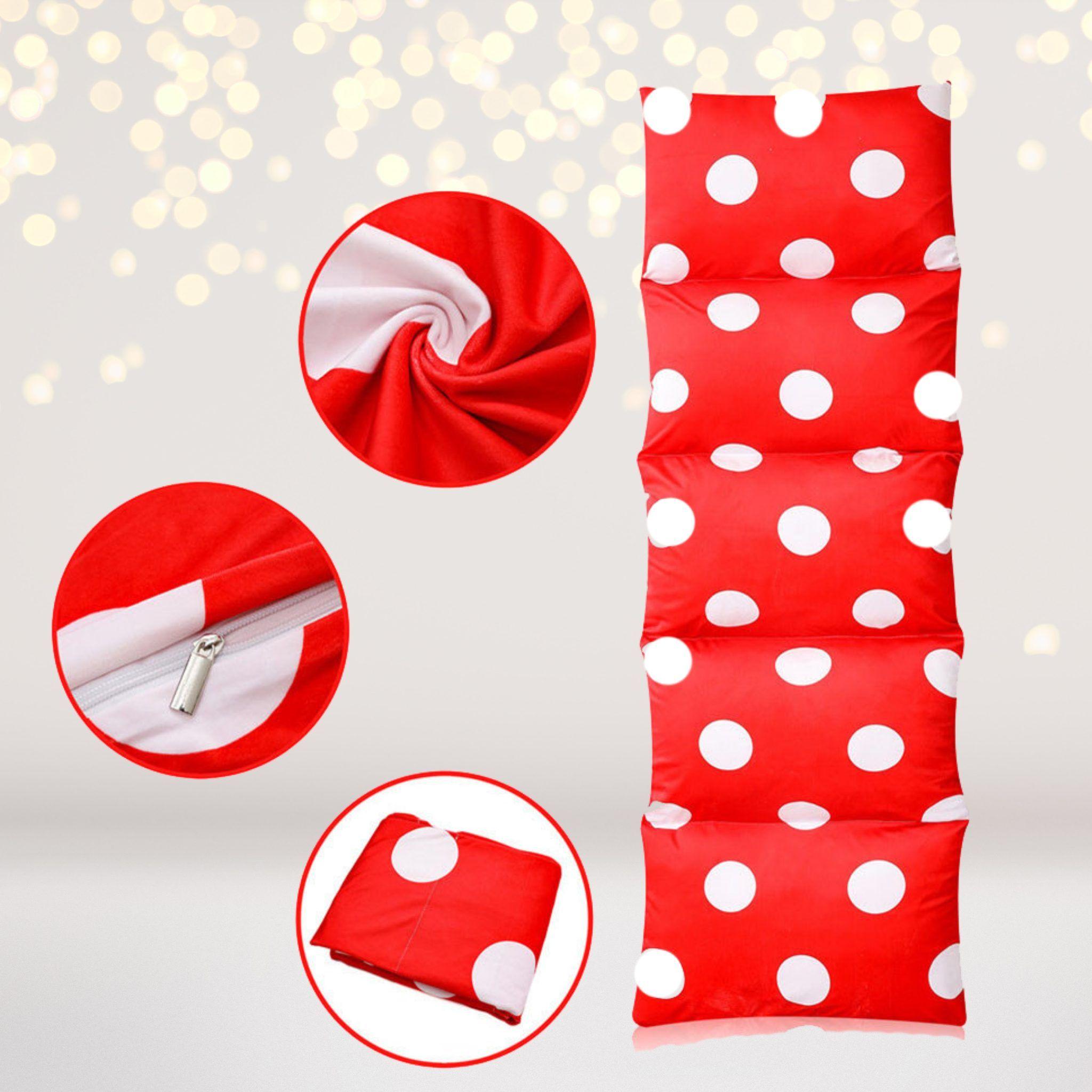 Red Polka Dot Pillow Bed Case, Caterpillar Floor Lounger - Default Title