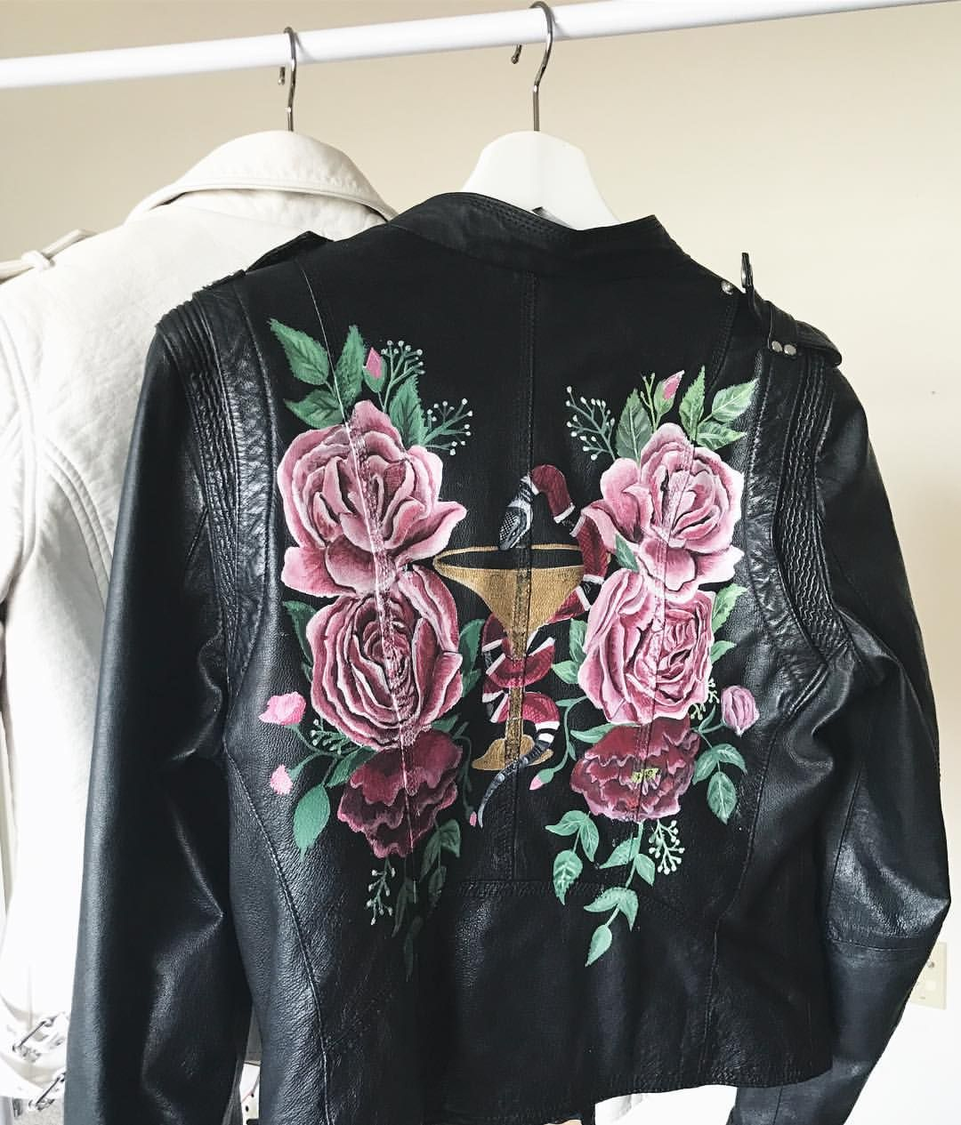 Painted Leather / Handpainted rose leather jacket