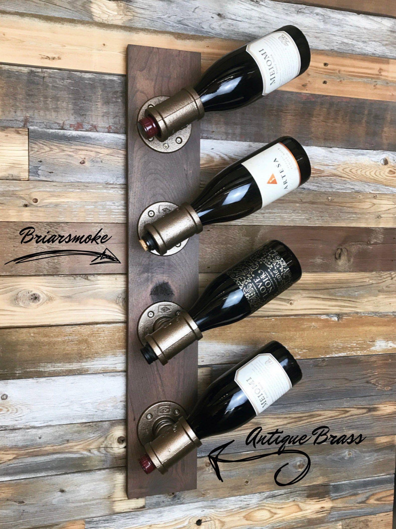 Tuyau Industriel Casier A Vin 4 Bouteilles En 2020 Etageres A Bouteilles De Vin Casier Vin Mur De Bouteille De Vin