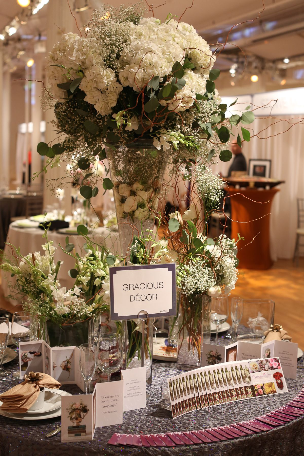 Stunning centerpiece from Gracious Decor at #WeddingSalon