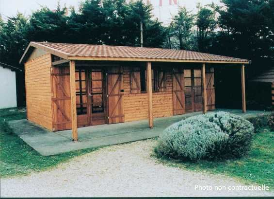 abri jardin chalet bungalow garages ossature en bois cabane carbet 7 5 m x 4 9 m caseddu. Black Bedroom Furniture Sets. Home Design Ideas