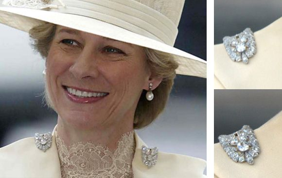 HRH the Duchess of Gloucester wearing two diamond clips ...