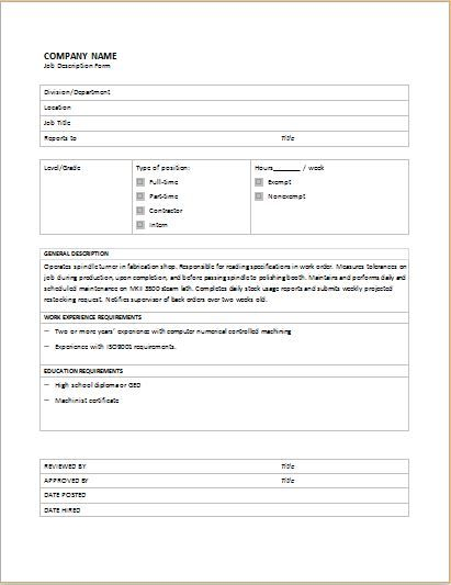 Job Description Form Download At HttpWwwBizworksheetsComJob