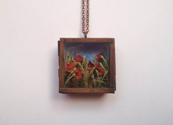 Miniature Landscape Pendant No. 2 Poppies in by BaroqueGarden, $145.00